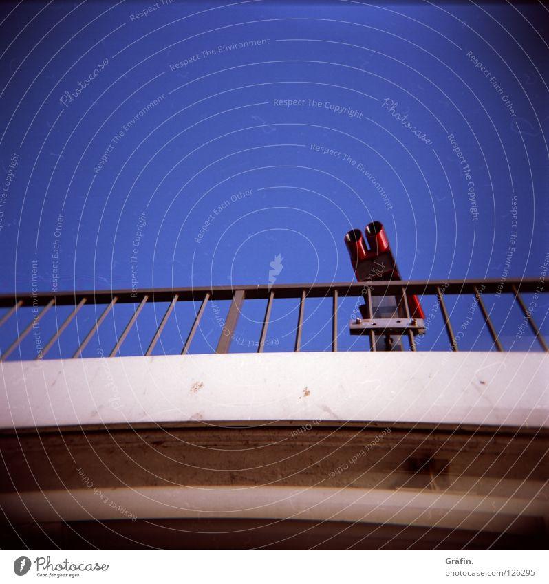 Blue Far-off places Metal Concrete Bridge Harbour Handrail Vantage point Jetty Tourist Blue sky Binoculars Aspire Medium format