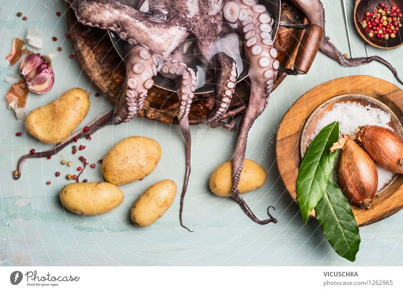 Octopus with potatoes and ingredients. Spanish cuisine Food Seafood Vegetable Herbs and spices Cooking oil Nutrition Lunch Dinner Organic produce