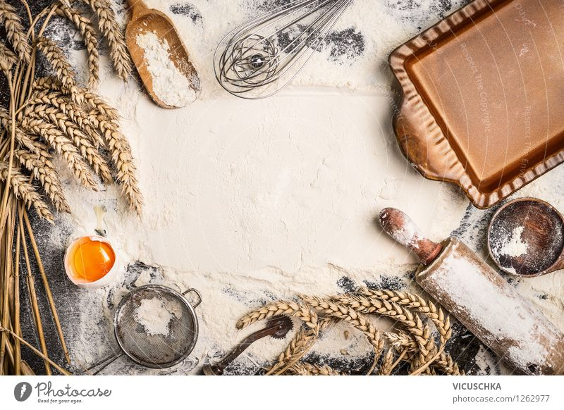 Flour background with devices for baking Food Grain Dough Baked goods Bread Roll Croissant Cake Nutrition Organic produce Spoon Style Design