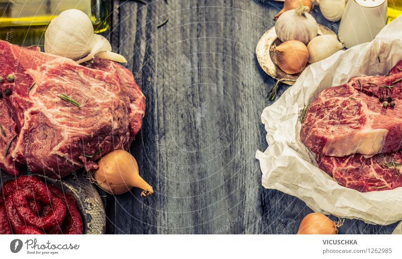 Marbled meat and preparation ingredients Food Meat Vegetable Herbs and spices Cooking oil Nutrition Lunch Dinner Banquet Organic produce Diet Slow food Style