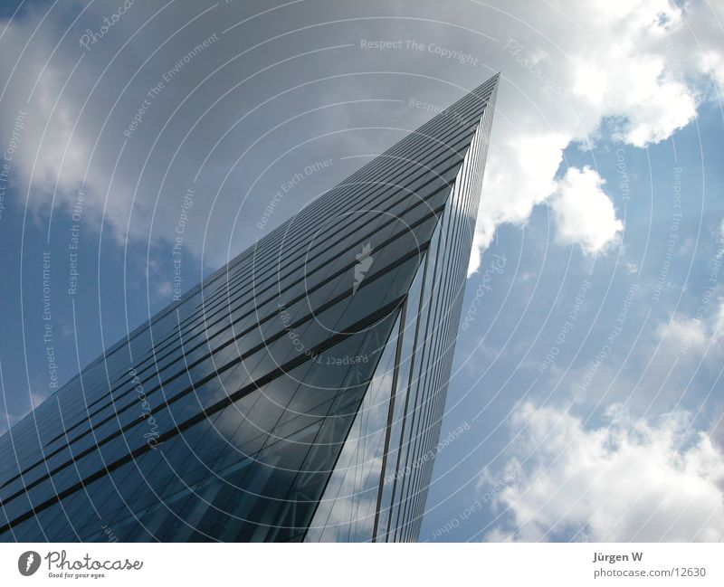 Sky Blue Clouds Architecture High-rise Modern Corner Point Duesseldorf