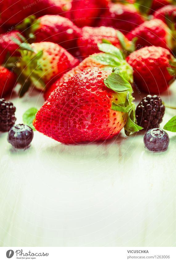 Strawberries and summer berries Food Fruit Dessert Nutrition Breakfast Organic produce Vegetarian diet Diet Style Design Healthy Eating Life Garden Table Nature