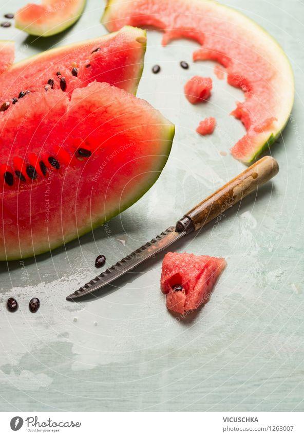 Eating juicy watermelon Food Fruit Dessert Nutrition Breakfast Organic produce Vegetarian diet Diet Juice Knives Style Design Healthy Eating Life Summer Table