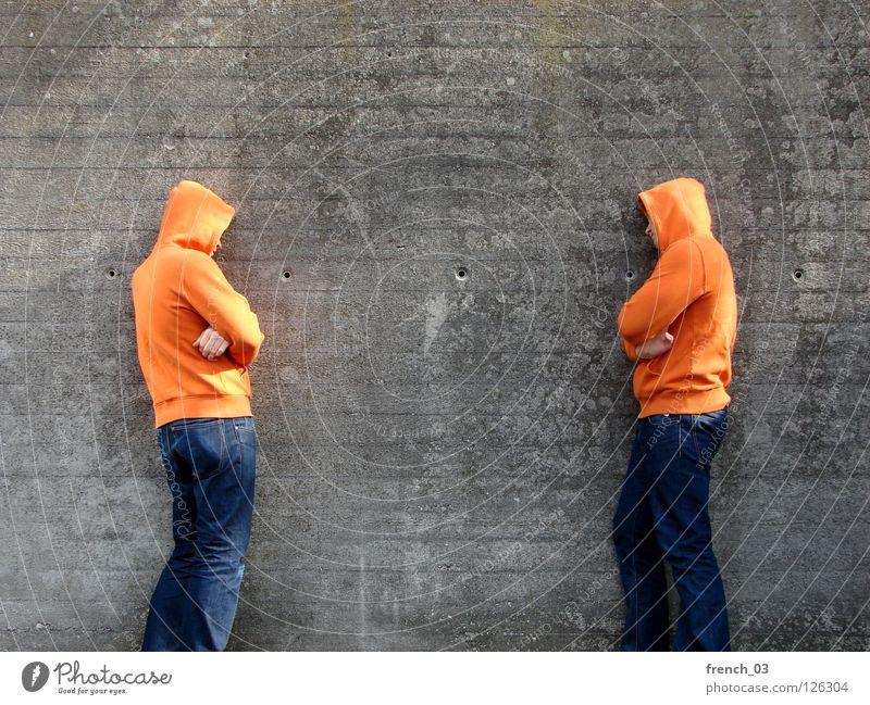 Man Blue Hand Red Calm Stone Wall (barrier) Legs Line Orange 2 Power Arm Wait Dangerous Stand