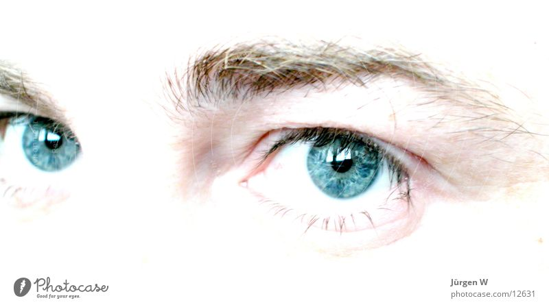 sidelong glance Pupil Photographic technology Eyes Looking Blue Human being Iris Bright view human brightly