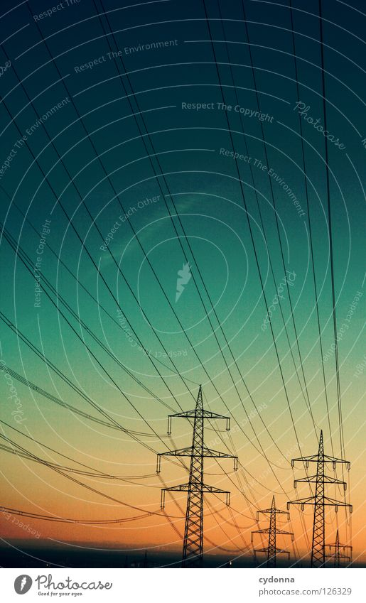 Sky Colour Far-off places Energy industry Electricity Railroad Might Industry Cable Logistics Net Traffic infrastructure Connection Store premises Americas Electricity pylon