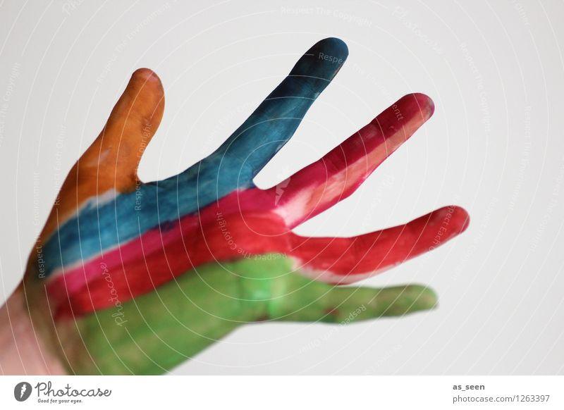 Child Blue Green Colour Hand Red Joy Dye Emotions Movement Art Orange Design Modern Power Infancy