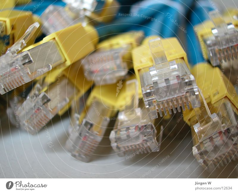 Blue Yellow Network Cable Technology Chaos Muddled Connector Electrical equipment