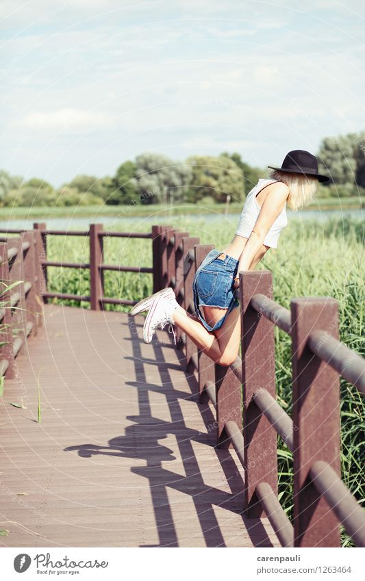 Human being Sky Nature Youth (Young adults) Summer Young woman Sun Joy 18 - 30 years Adults Meadow Grass Feminine Happy Jump Field