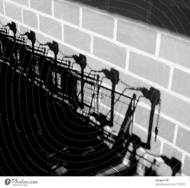 Shadows on the Wall Wall (building) Black White Shopping Trolley Wall (barrier) Light Photographic technology trolley
