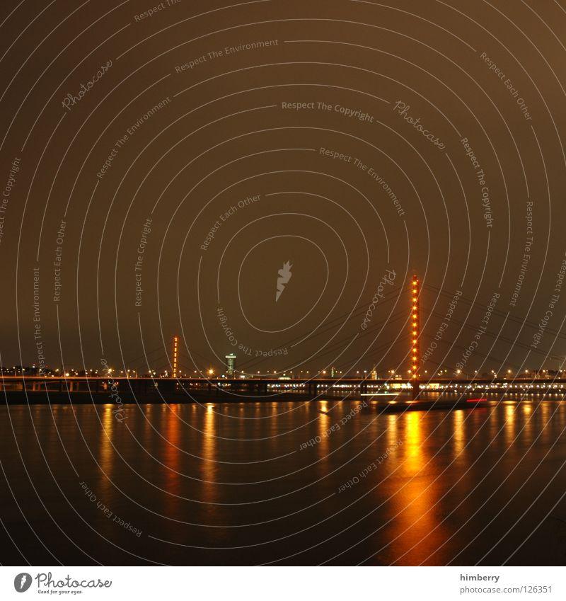 City Blue Street Lamp Lighting High-rise Lifestyle Bridge Modern Tower Point Skyline Duesseldorf Exposure Night life
