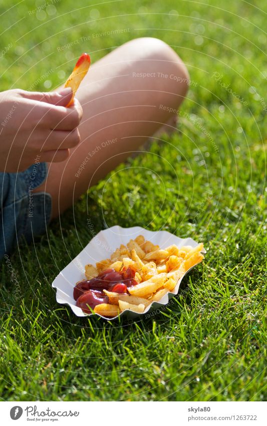 land of milk and honey French fries Ketchup Summer Dish Eating Food photograph Delicious Appetite Cooking Exterior shot Music festival Festival Meadow