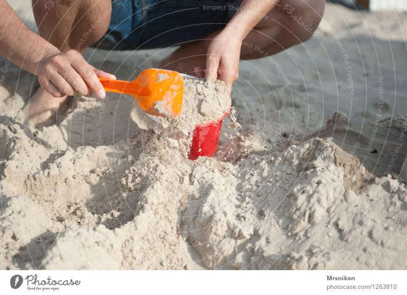 dig Vacation & Travel Adventure Summer Summer vacation Sun Sunbathing Beach Ocean Island Parents Adults Father Hand 1 Human being 30 - 45 years Playing Sandpit