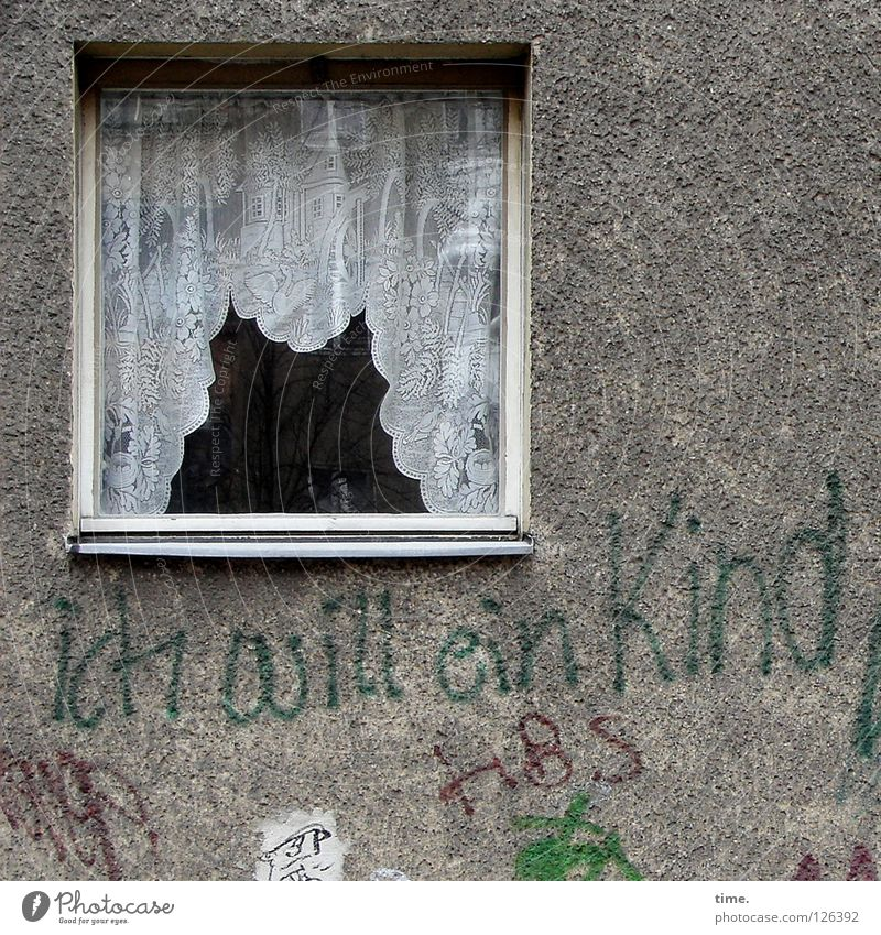 Child Loneliness House (Residential Structure) Window Wall (building) Graffiti Wall (barrier) Gray Contentment Gloomy Crazy Characters Dangerous Fantastic Sign