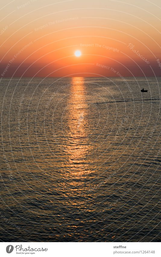 a new day begins Nature Landscape Sun Sunrise Sunset Sunlight Summer Beautiful weather Waves Coast Ocean Bari Italy Apulia Port City Esthetic Kitsch