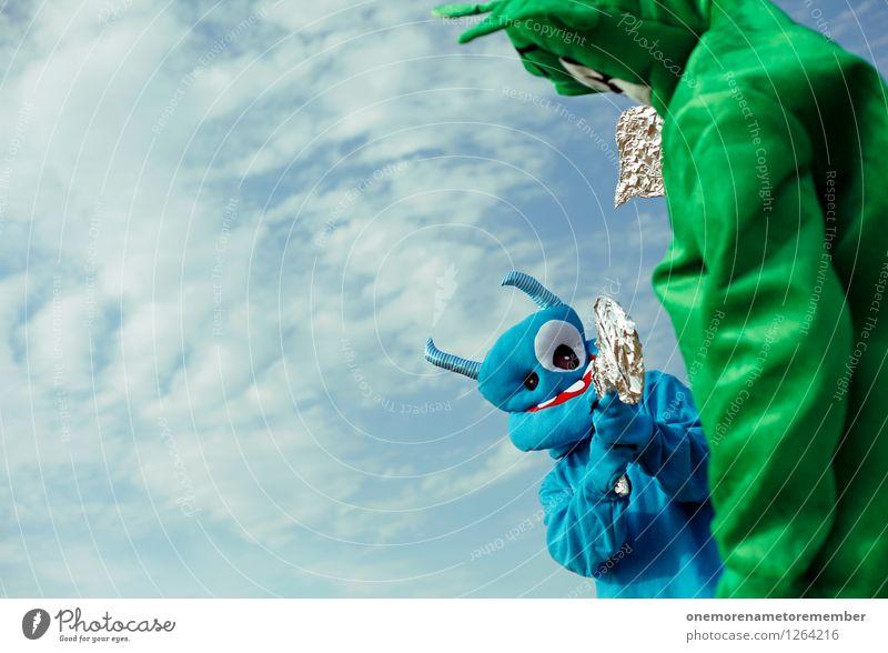 Blue Green Joy Funny Playing Art Esthetic Might Living thing Argument Work of art Blue sky Monster Comical Handgun Funster