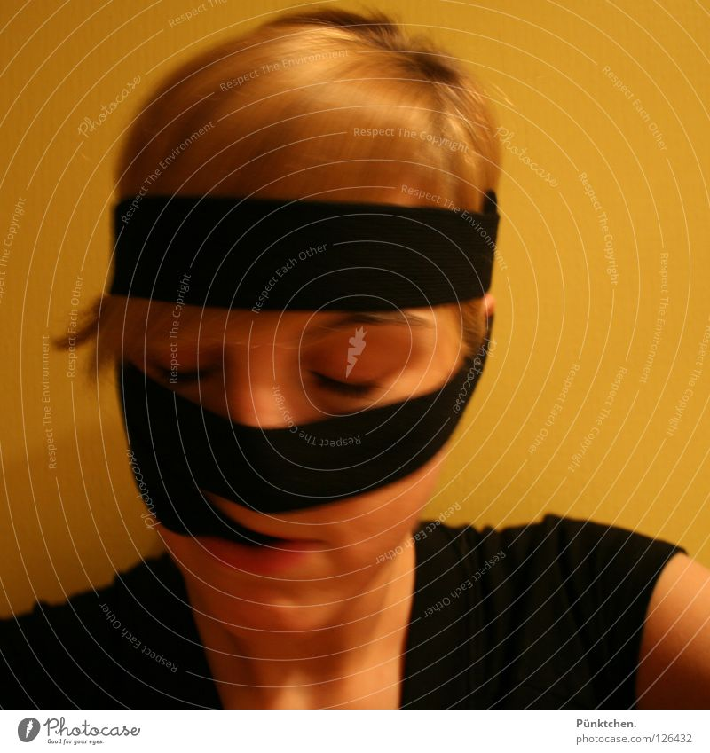 Aren't we all Black Yellow Blonde Face of a woman To hold on Chin T-shirt Strand of hair Eyelash Eyebrow Coil Crazy Closed eyes Stupid Headband Headache Woman