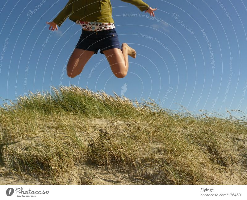 want to fly Jump Jumping power Summer Vacation & Travel Marram grass Joy Leisure and hobbies Power Force Beach dune Aviation Flying Legs Sky Lust Sand