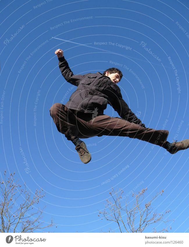 just FLYING Black Brown Jump Man Joy Playing Sky Blue Flying Branch