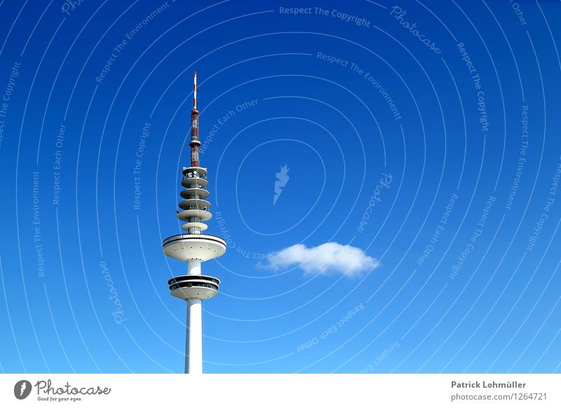 Sky City Blue White Clouds Environment Architecture Germany Tall Concrete Point Europe Telecommunications Beautiful weather Hamburg Tower