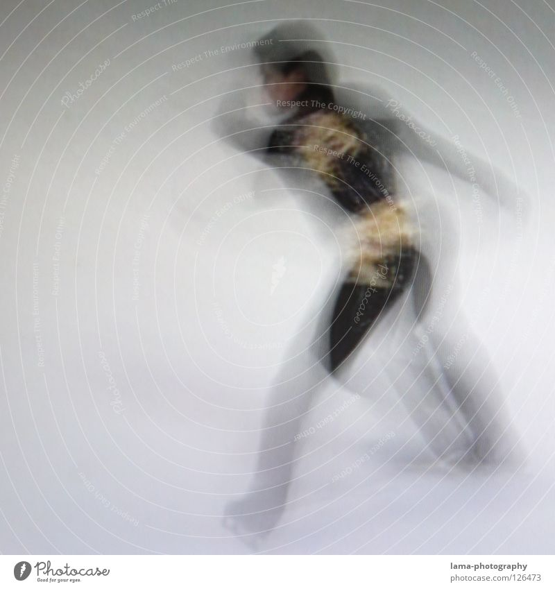 Get going [PIXELS IN MOTION] Speed Blur Exposure Movement Rotate Elegant Figure skating Ice-skates Rotation White Black Abstract Photographic technology Dance
