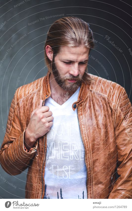 jacket Masculine Young man Youth (Young adults) 1 Human being 18 - 30 years Adults Jacket Hair and hairstyles Long-haired Facial hair Cool (slang) Hip & trendy
