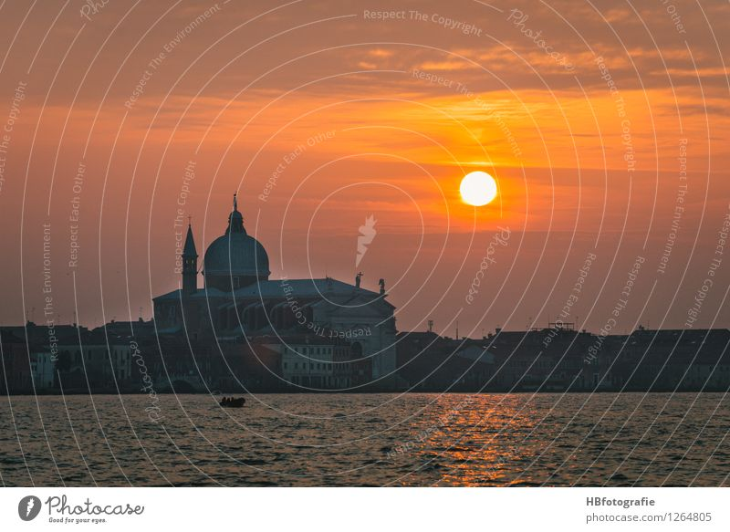Sunset at Venice Italy Europe Town Downtown Old town Church Tourist Attraction Landmark Monument Il Redentore Yellow Orange Warm-heartedness Romance Beautiful