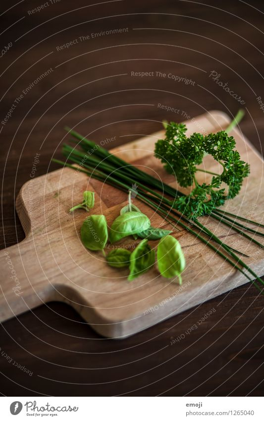 herbs Food Herbs and spices Basil Chives Parsley Nutrition Chopping board Natural Green Wood Wooden board Colour photo Interior shot Deserted Day