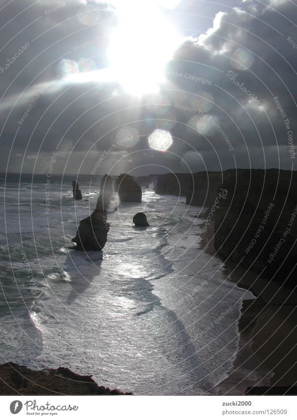 Water Sun Ocean Clouds Wind Large Rock Australia Surf Hissing