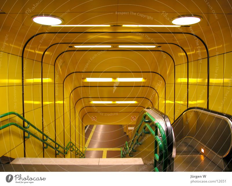 undergroud Underground Entrance Yellow Escalator Lamp London Underground Architecture Stairs Handrail Downward entry railing