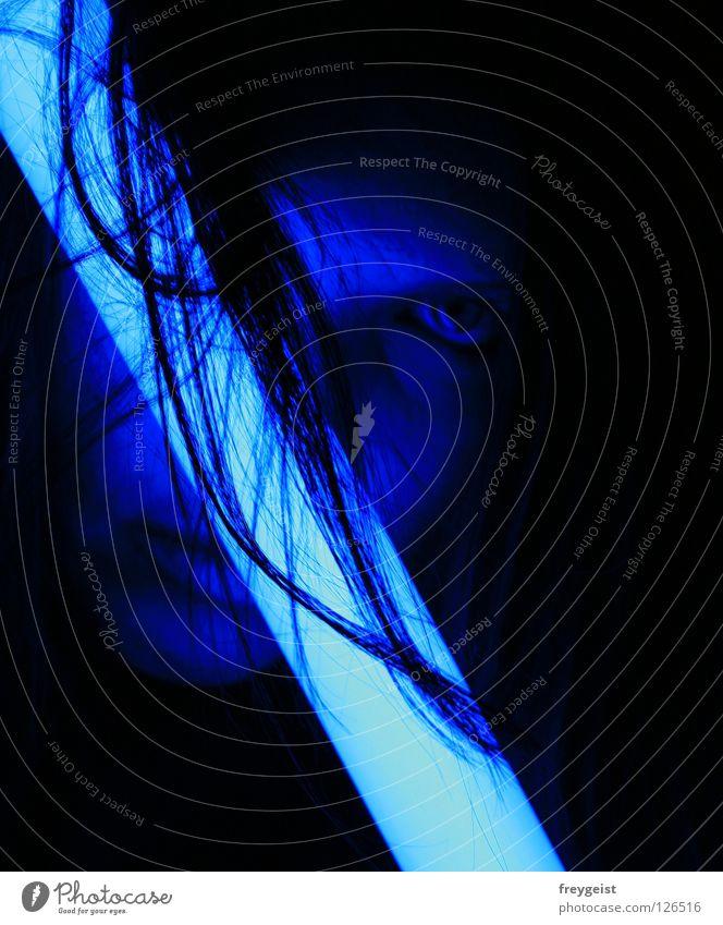 Woman Blue Face Black Lamp Dark Hair and hairstyles Neon light Warning light
