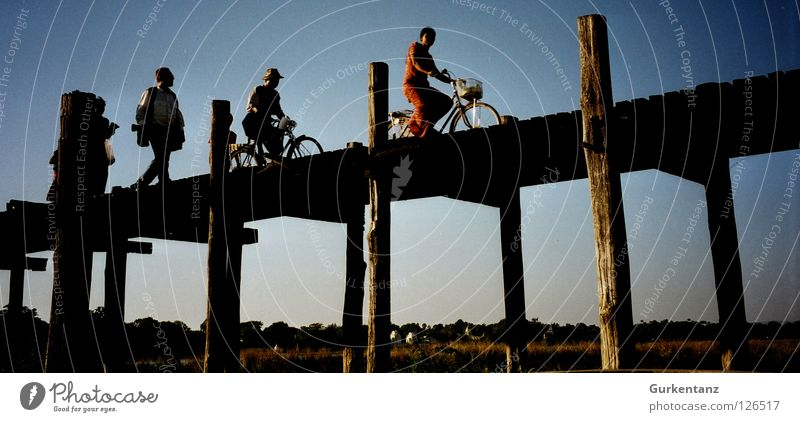 Human being Tree Wood Bicycle Bridge Asia Tourist Dusk Pole Myanmar Closing time Teak Mandalay Wooden bridge Burmese