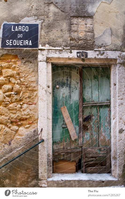 Behind closed doors... House (Residential Structure) Redecorate Alfama Lisbon Portugal Europe Town Downtown Old town Ruin Wall (barrier) Wall (building) Facade