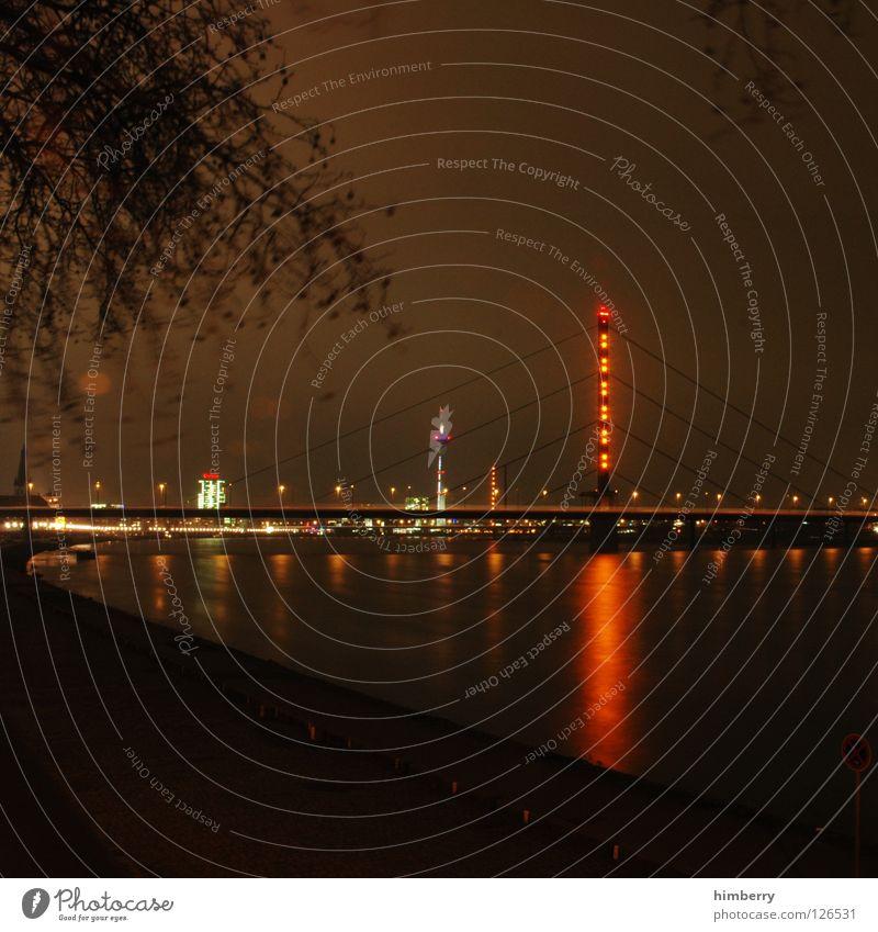 City Blue Street Lamp Lighting High-rise Lifestyle Bridge Modern Tower Point Skyline Column Duesseldorf