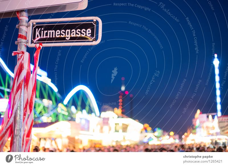 Coincidence? Leisure and hobbies Night life Entertainment Party Event Duesseldorf Town Bright Joy Fairs & Carnivals street sign Signs and labeling Blur
