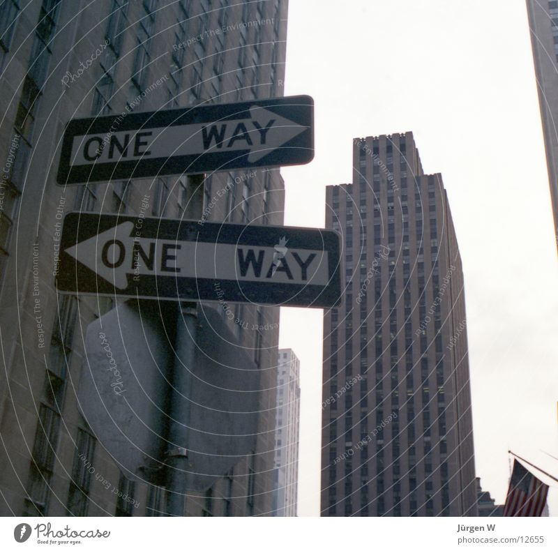which way? New York City Building High-rise One-way street Road sign North America USA one way Signs and labeling architecture