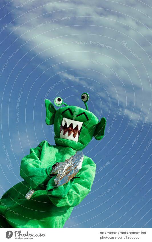 EASY! Art Work of art Esthetic Extraterrestrial being Monster Ogre Monstrous Weapon Handgun Laser Green Carnival costume Disguised Threat Surrealism