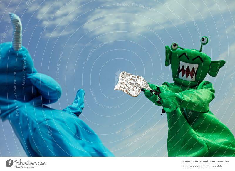 FREEZE! Art Work of art Adventure Esthetic Extraterrestrial being Monster Ogre Monstrous Threat Handgun Laser Green Blue Blue sky Carnival costume Dress up Joy