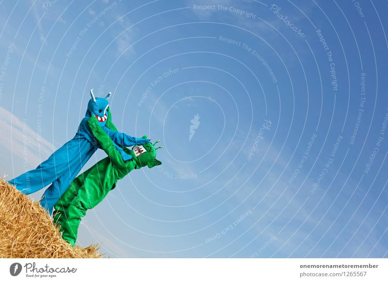 Blue Green Joy Art Esthetic Argument Fight Work of art Blue sky Carnival costume Monster Comical Funster Extraterrestrial being Bale of straw