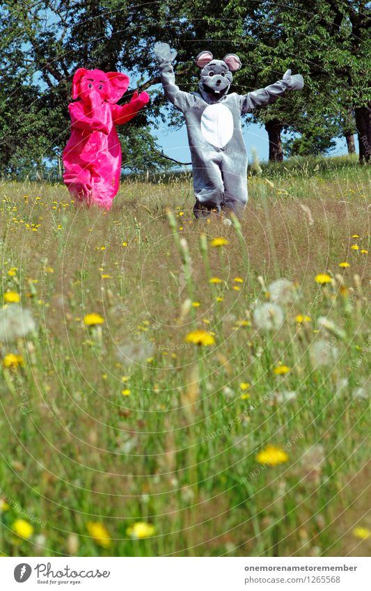 Hihihihihihihihihihi Art Work of art Esthetic Catch Walking Escape Hunting Escape agent Stranger Flee Refugee Elephant Mouse Playing Effortless Joy Comical