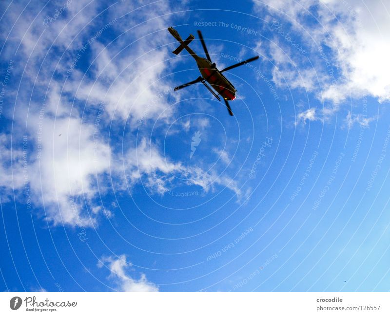 Beautiful Sky Summer Clouds Freedom Help Aviation Dangerous Threat Kitsch Rescue Rescue Pilot First Aid Helicopter Rotor