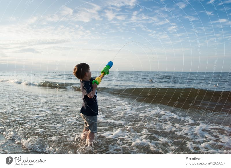 Human being Sky Child Vacation & Travel Summer Water Sun Ocean Beach Life Coast Boy (child) Horizon Waves Infancy Stand