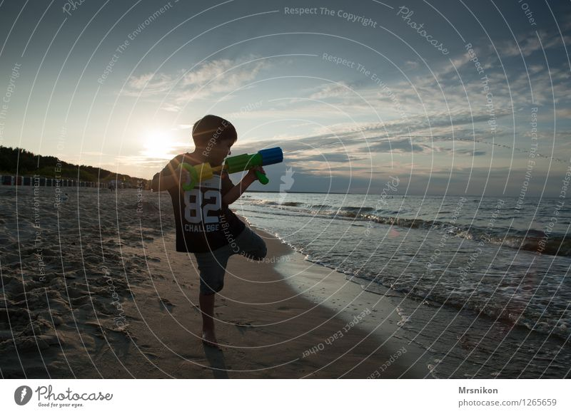 coastline Vacation & Travel Far-off places Freedom Summer Summer vacation Sun Beach Ocean Island Waves Child Toddler Boy (child) Infancy Life 1 Human being