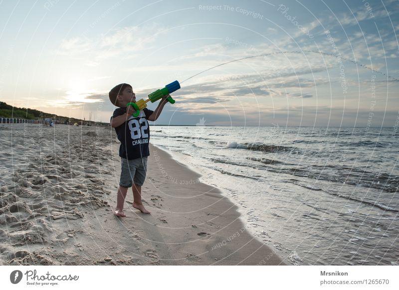 Human being Child Vacation & Travel Summer Water Sun Ocean Joy Far-off places Beach Life Coast Boy (child) Freedom Waves Infancy