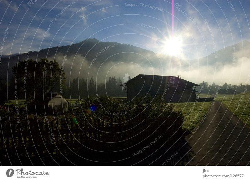 Sky Sun Green Blue Yellow Street Relaxation Mountain Garden Warmth Fog Fresh Switzerland Physics Barn Morning fog