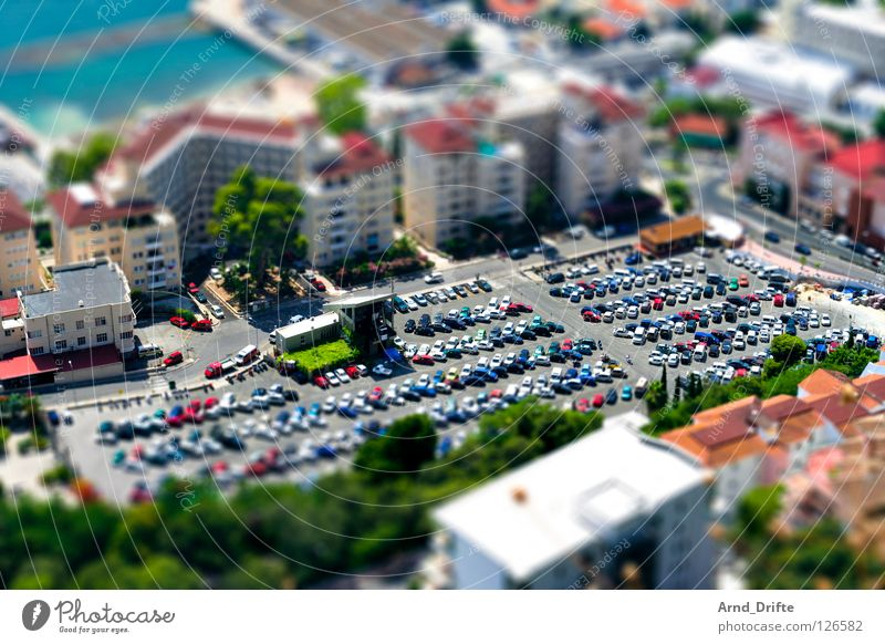 mini parking Tilt-Shift Small Miniature Bird's-eye view Oberhausen The Ruhr North Rhine-Westphalia Green Gibraltar Spain Great Britain England Parking lot