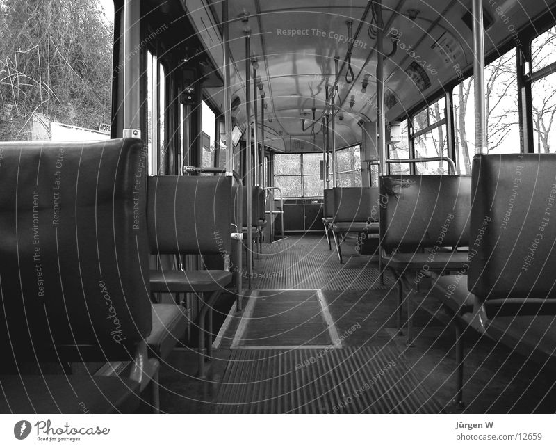 streetcar Tram Empty Old Black & white photo neat Seating dirty seat