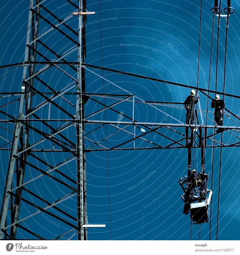 Human being Energy industry Work and employment Electricity Technology Industry Cable Electricity pylon Transmission lines Industrial High voltage power line