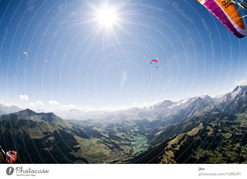 backlight Lifestyle Well-being Contentment Relaxation Calm Leisure and hobbies Trip Freedom Summer Mountain Sports Paragliding Paraglider Sporting Complex