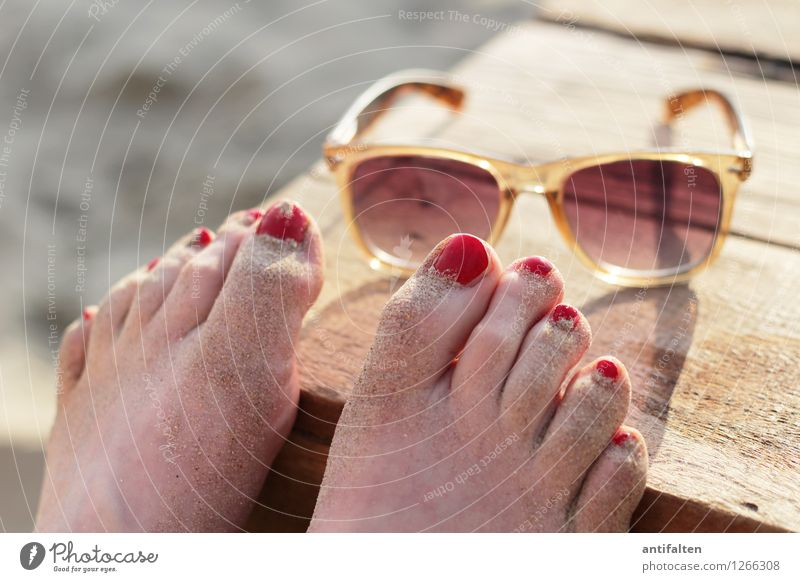 Human being Woman Vacation & Travel Summer Sun Relaxation Ocean Red Far-off places Beach Adults Feminine Wood Lifestyle Freedom Feet
